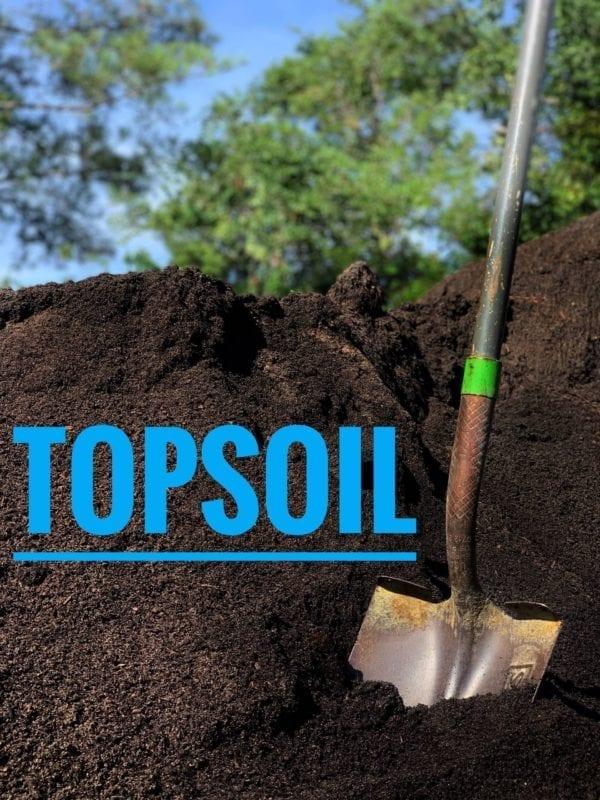 dark topsoil and shovel